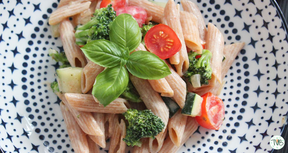 Rote Linsen Makkaroni mit Gemüse #vegan
