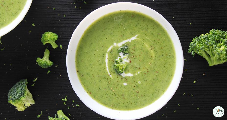 Brokkolicreme Suppe, vegan, Speiseplan, KW 9, Donnerstag