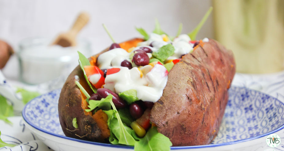 Gebackene Süßkartoffel, Burrito bowl, Speisplan, vegan, Montag