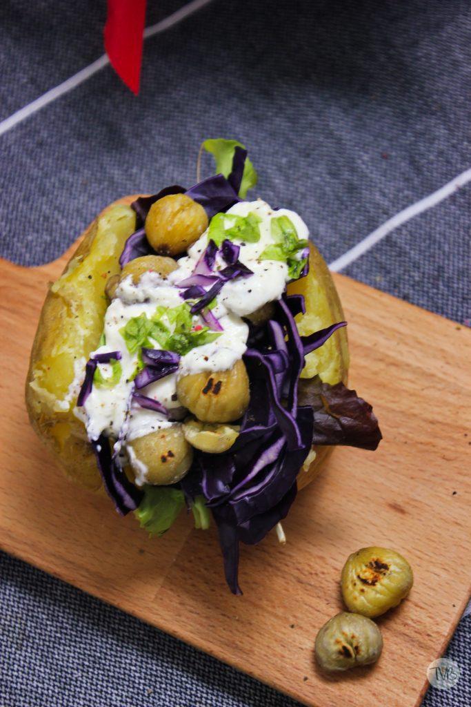 Ofenkartoffel, Rotkraut, Maroni