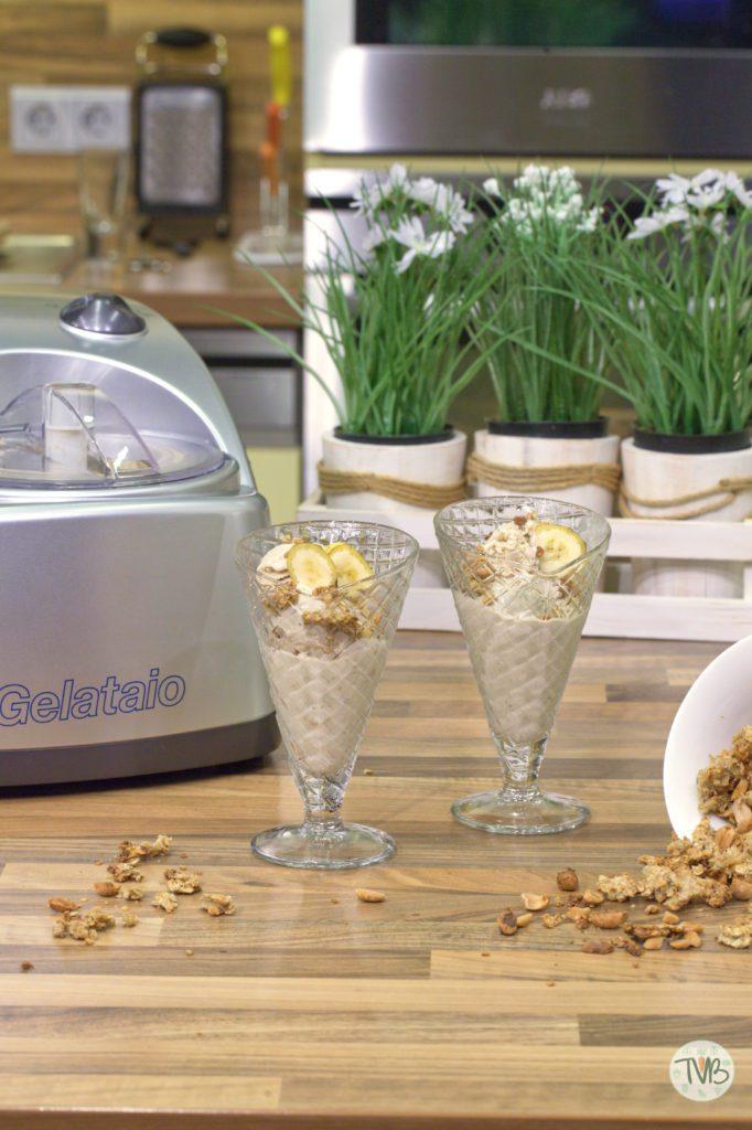 Bananen Erdnuss Eis, ohne Zucker, Eismaschine