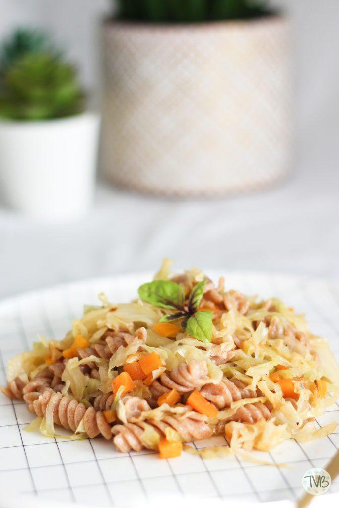 Krautfleckerl, vegan, vegetarisch, Nudeln, Weißkraut