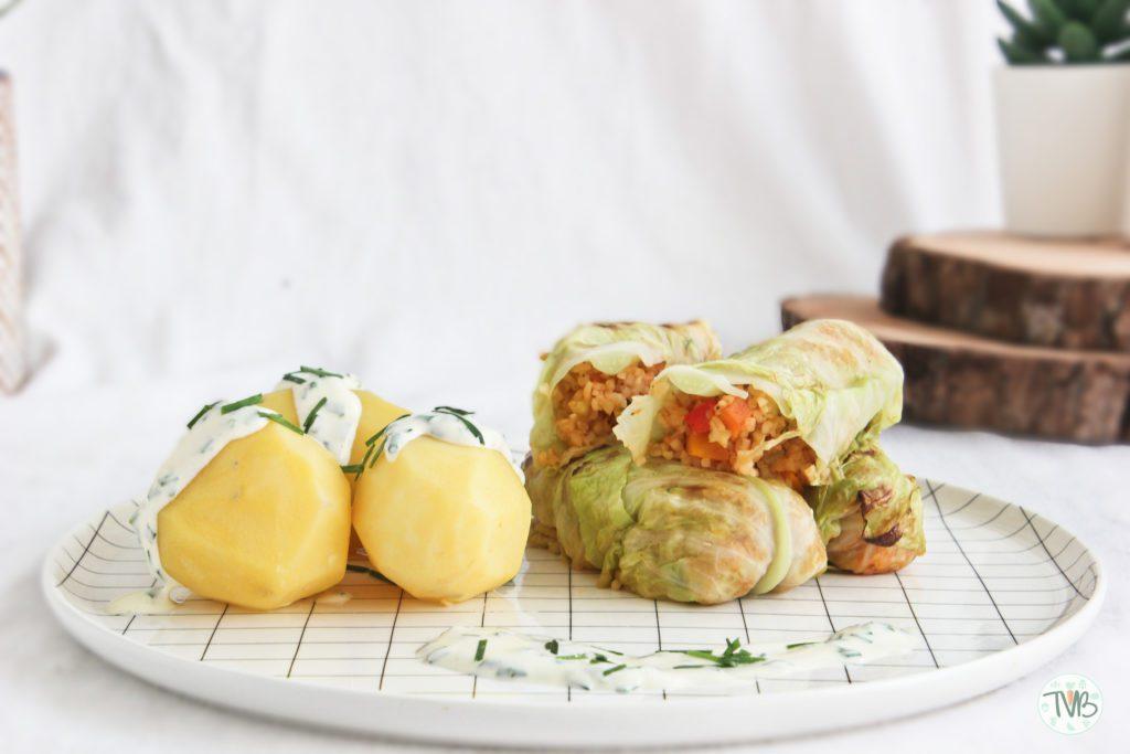 Krautrouladen, Kohlrouladen, Kohl, Kraut, vegan, veggie, vegetarisch, Bulgur, Gemüse