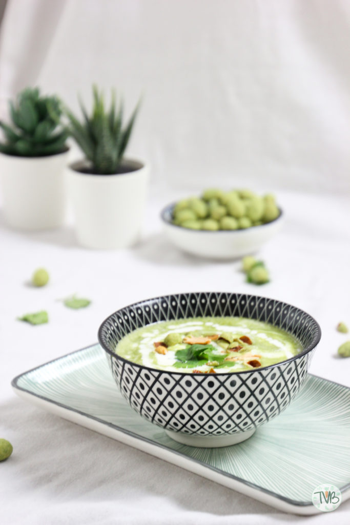 Erbsen Wasabi Creme Suppe, Vegan, vegetarisch, S&B