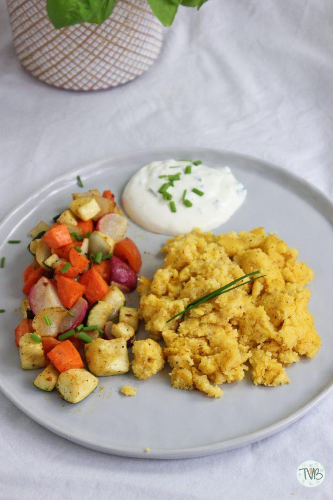 Polenta, Maisgrieß, Gemüse, Schnittlauch, Sterz, steirisch
