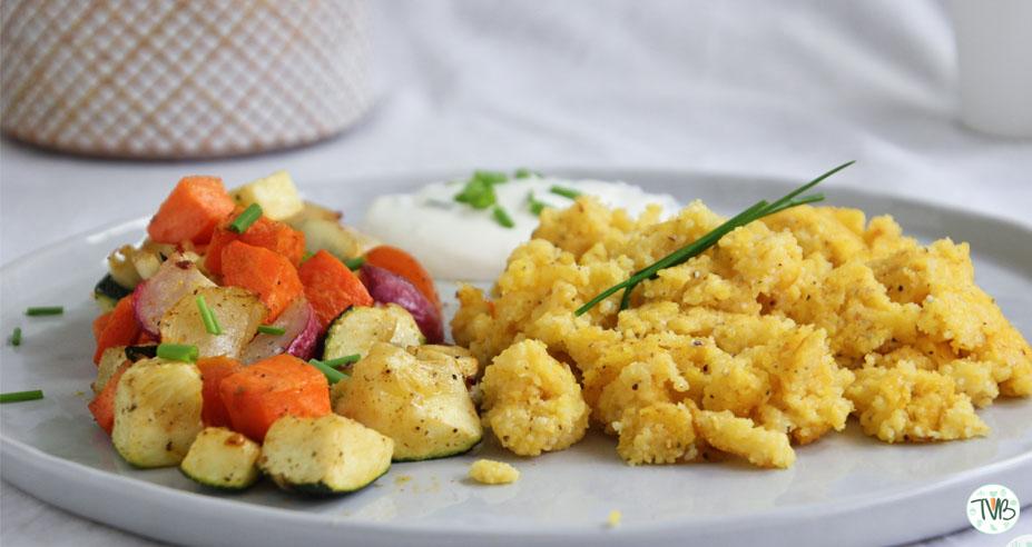 Polenta Sterz mit buntem Ofengemüse #vegan