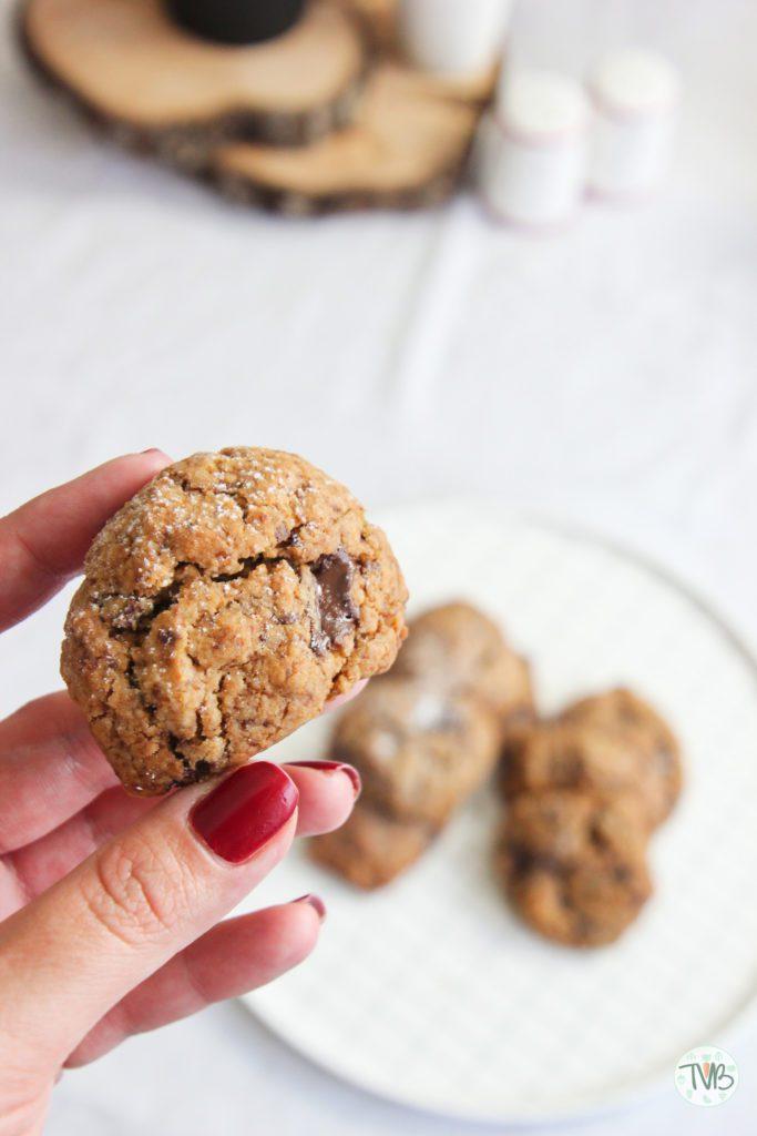 Vegane Schoko Kekse, pflanzlich, dunkle Schokolad, ohne Zucker