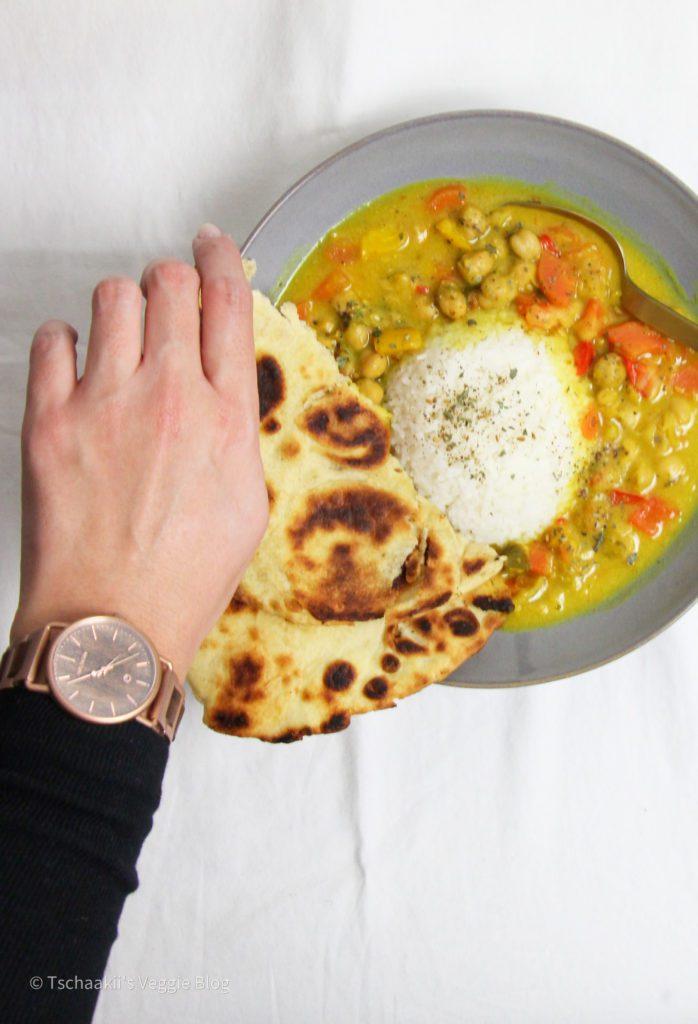 Kernholz, Damen, Uhr, Curry, Naan Brot, vegan, Rezept, pflanzlich