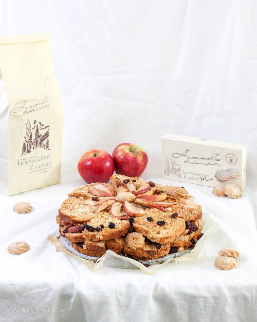 Scheiterhaufen Rezept, Apfel, Rosinen, vegan alternativ möglich, mit Hummel's Zwieback und Krapferl